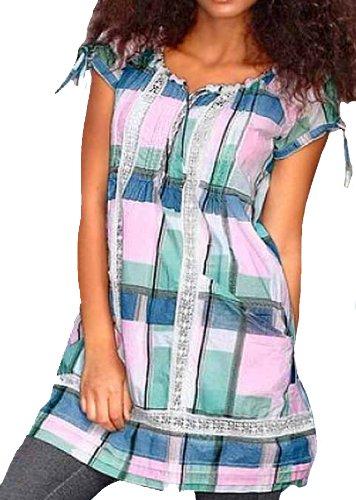 Tom Tailor Damen-Kleid Webkleid mit Spitze rosa-mint Mehrfarbig Größe S