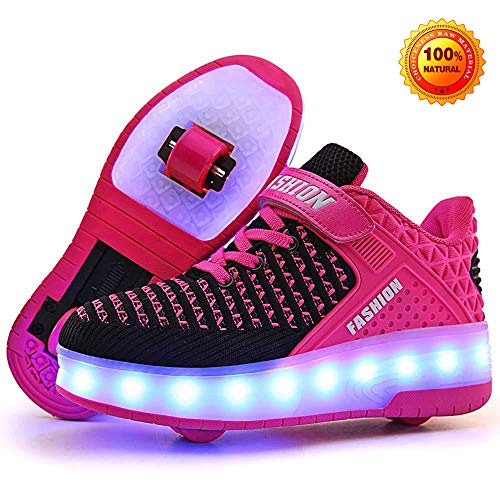 unbrand Kinder LED Schuhe Damen Herren Leuchten Sportschuhe Unisex USB Lade Outdoor Leichtathletik Paare Schuhe,Pink-31