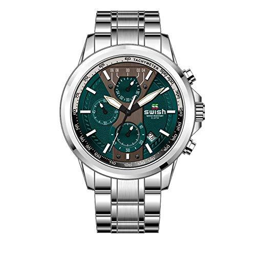 oßes Zifferblatt Quarzwerk Sportuhr Wasserdicht Stahlgürtel Dornschließe Uhr, Silber Grün Platte ()