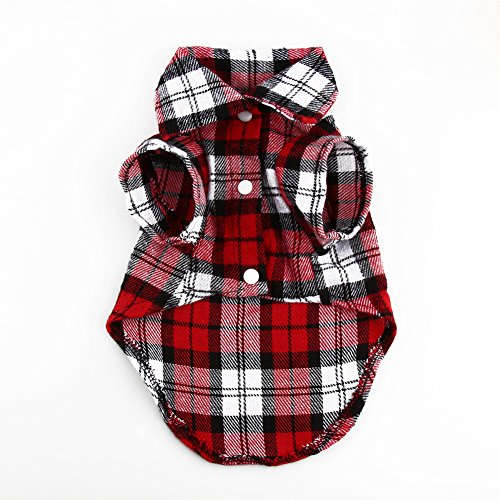 NEU Kleine Haustiere Hund Puppy Plaid T-Shirt Revers Coat Jacke Katzen Kleidung Kostüm rot - Pet Huhn Kostüm