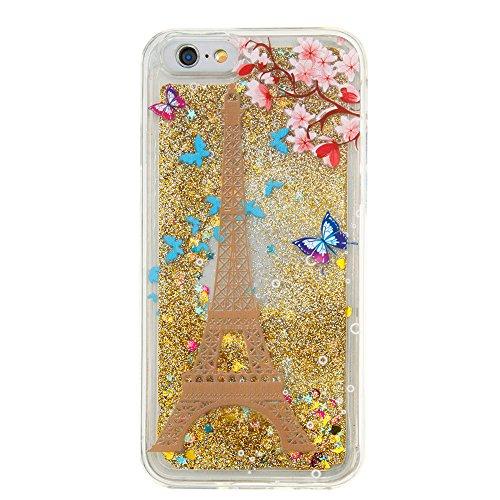 MOONCASE iPhone 6S Coque, Glitter Sparkle Bling Liquide Transparent Étui Coque pour iPhone 6 / 6S (4.7 inch) Soft TPU Gel Souple Case Housse de Protection (Love flower Pattern) Eiffel Tower