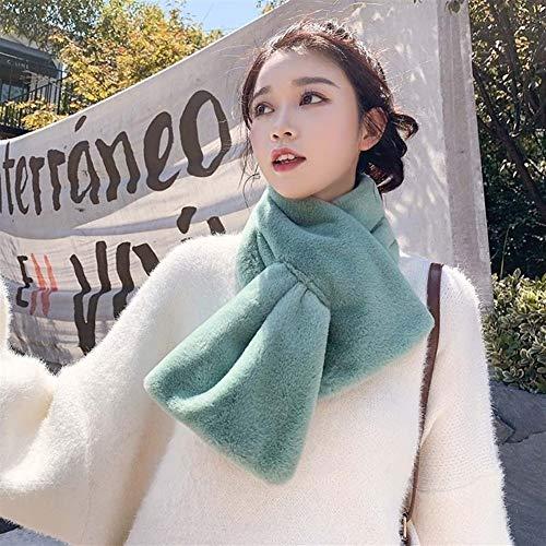 DaTun648 Imitation Kaninchen-Pelz-Schal, Frau Winter, Faux-Pelz-Schal, Plüsch starker warmer Schal Modischer Schal (Color : Green, Size : 100 * 12cm) -