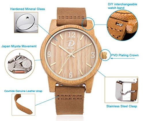 40mm Holz Armbanduhr für Herren und Damen, echtes Leder-Bügel Band Business Casual Armbanduhren, Japanisches Miyota Quarzwerk Bewegung Vintage Natürliche Holz Uhren (Bambus) - 4