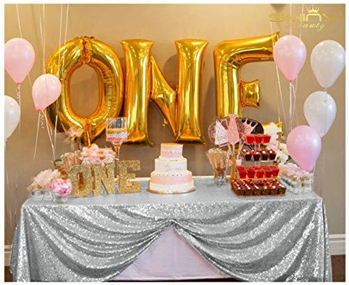 ShinyBeauty Silber Pailletten Tischdecken für Hochzeit / Party - 150cm x 260cm -
