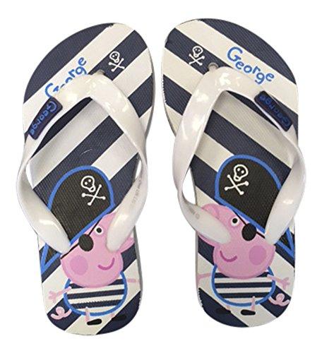 Garçons Enfants George Peppa Pig, Chaussures plage d'été tongs bleus, pirates et rayures Pirate George