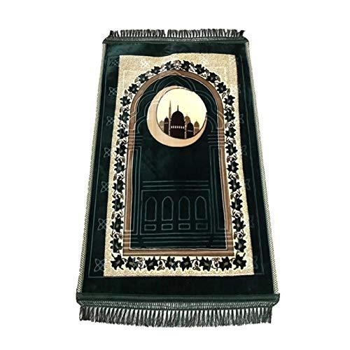Sincere Moslemischer Anbetungsteppich Gebetsteppich Islam Gebet für Männer Kinder und Frauen Druck VerDickung Komfort 1.2m*0.8mm Green