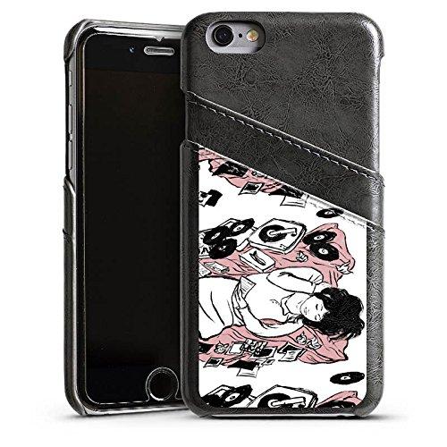 Apple iPhone 5s Housse Étui Protection Coque Fille Musique Platine Étui en cuir gris