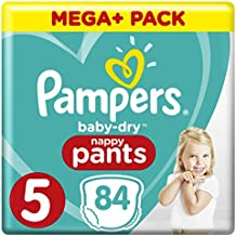 PAMPERS Baby-Dry Pants tamaño 5, con canales de aire, 84 unidades)