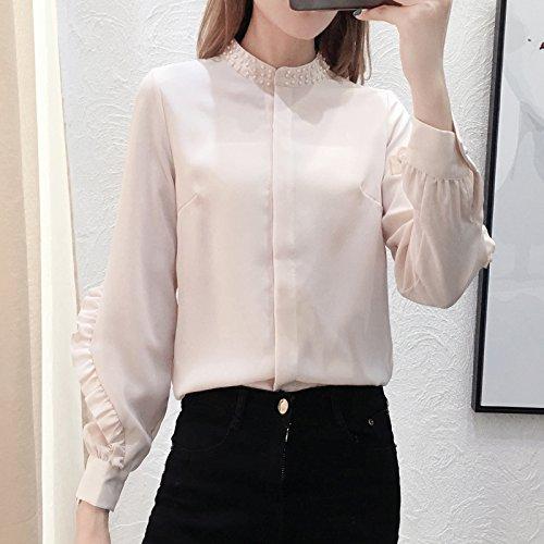 Xxin maniche lunghe donna viti sul lato della perla lotus lascia t-shirt neve camicie tessute l colore immagine