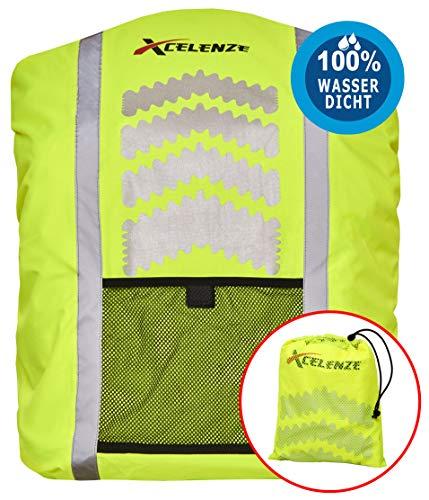 Xcelenze - Premium Regenschutz für Rucksäcke 100{cb0b6510a9ff789adcddab8a2553203070bb770d90d73e0622211688d4fd6e2e} wasserdicht gelb mit Reflektorstreifen| Rucksackschutz Schultasche Regenschutz Regencape Rucksackcover Sicherheitsüberzug Reflektorüberzug