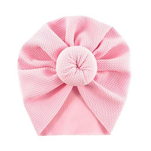 mlpnko Baby Kapuzenmütze Neugeborenen Hut Kind einfarbig Ball Tuch Kappe rosa Code -