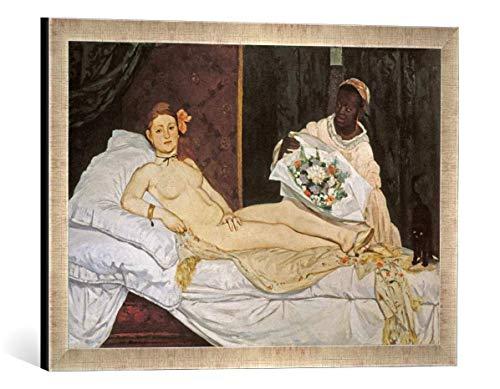 Gerahmtes Bild von Edouard Manet Olympia, Kunstdruck im hochwertigen handgefertigten Bilder-Rahmen, 60x40 cm, Silber Raya