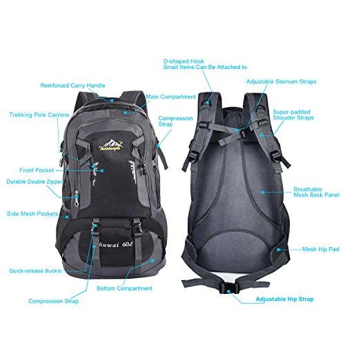 Bonibol große Kapazität 60 L Wasserdichte Wanderrucksäcke Reiserucksack Damen Herren Daypack für Outdoor Sport, Camping und Reisen schwarz