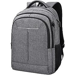 NEWHEY Sac à Dos Ordinateur Hommes 15.6 Pouces Imperméablet de Charge USB Port Grande Capacité Laptop d'affaires Sac Portable Voyage College Knapsack Gris