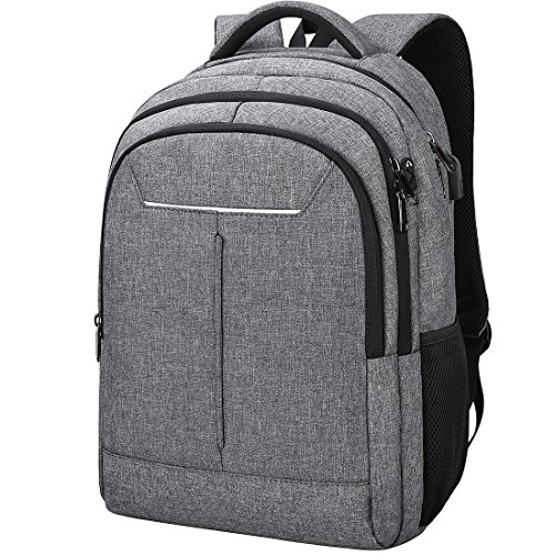 NEWHEY Laptop Rucksack Business Wasserdicht Schulrucksack 15,6 Zoll USB Ladeanschluss Notebook Daypack für Herren Damen Arbeit Schule Universität Travelite Grau