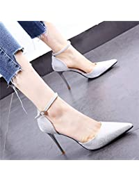 8ff56889506 HOESCZS Vestido de Plata Dorado Zapatos de Boda 19 Primavera Tacones de  Aguja de strassto Puntiagudo
