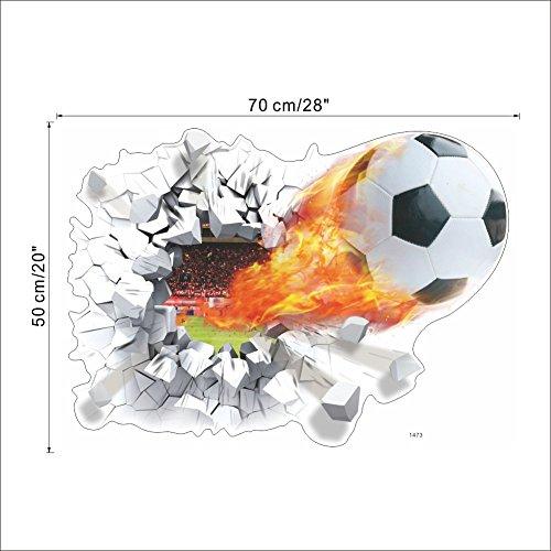 Rainbow Fox 3D Vinyl Gebrochen Fußball Fußball-Wand-Aufkleber wasserdichte , abnehmbare DIY Aufkleber-Kind-Raum-Dekor-Sport Boy Art Schlafzimmer Aufkleber Wohnkultur (Kinder-wand-dekor)