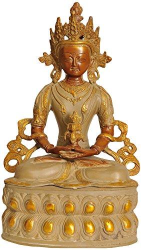 Exotic India Amitabha Buda meditado, Oro cementado, tamaño: 14 x 8,3 x 14,3 Pulgadas