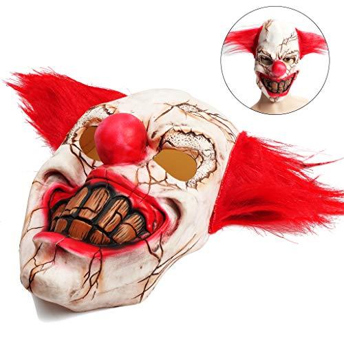OWUDE Scary Clown Maske, Horror Gruselig Latex Clown Masken für Erwachsene Haunted House Dressing Halloween Kostüm Maskerade Party Cosplay Requisiten (Rotten Face ()
