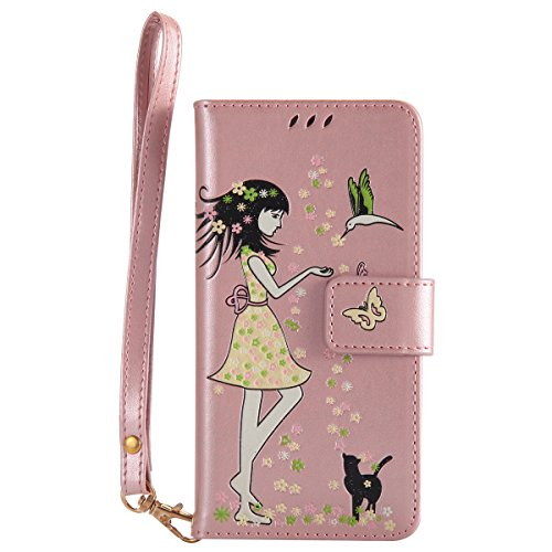 "Coque pour iphone X Portefeuille, Housse en cuir de Mode iphone X 5.8"", iphone 10 Folio Flip Cover Case, MoreChioce Luxe de Étui en cuir PU Fille et Chat En relief et Fonction Miroir, Caoutchouc soupl Noctilucent-Or rose"
