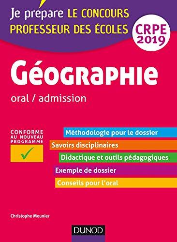 Géographie - Professeur des écoles - oral / admission - CRPE 2019 par Christophe Meunier