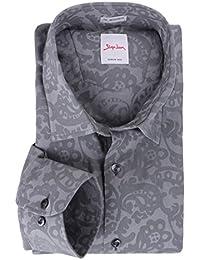 Übergrößen Langarmhemd von Signum grau mit Jaquardmuster
