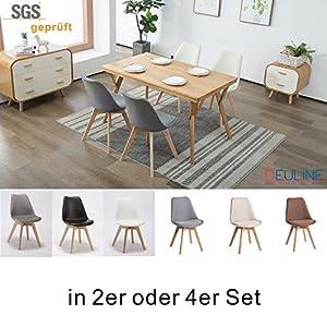Deuline® 2X Esszimmerstühle Esszimmerstuhl Küchenstuhl SGS Zertifiziert Massivholz Beine Polsterstuhl Retro Design…