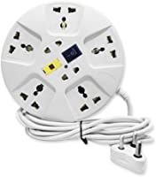 Elove Extension Board ,6 Amp Multi Plug Point Extension Cord (3 Meter) With Led Indicator And Universal Socket - White