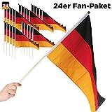 24er Sparpack Deutschland Fahne Flagge mit Stab 21 x 14 cm - für Fußball Fans, für WM 2018 Party & Co.