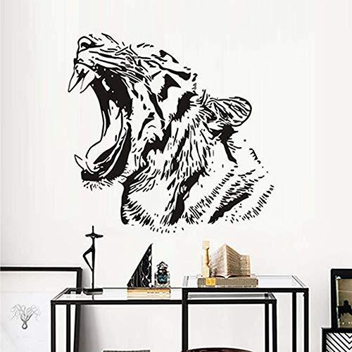 Afica Tiere Wildcat Tiger Wandaufkleber Für Kinderzimmer Wasserdicht Abnehmbare Vinyl Wandkunst Aufkleber Tapete Wohnkultur A1 59 * 58 CM - Tiger Kraut