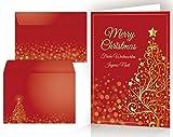 Set di cartoline di Natale: 10 x ALBERO DI NATALE D'ORO con busta - 10 cartoncini pieghevoli / di alta qualità in un set con buste. Formato: DIN A 6 (14,8 x 10,5 cm)
