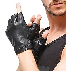"""Nappaglo Men 's Classic fingerless guantes importados de cuero de piel de cordero forro de seda Ciclismo Guantes medio dedo de conduccion al aire libre (L (Palm circunferencia: 8,7""""), negro)"""