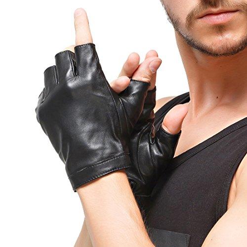 Nappaglo Herren Fingerlose Lederhandschuhe Lammfell Weiches Seidenfutter Halbfinger für fahren Radfahren Outdoor Handschuhe (M (Umfang der Handfläche:21.4cm), Schwarz)