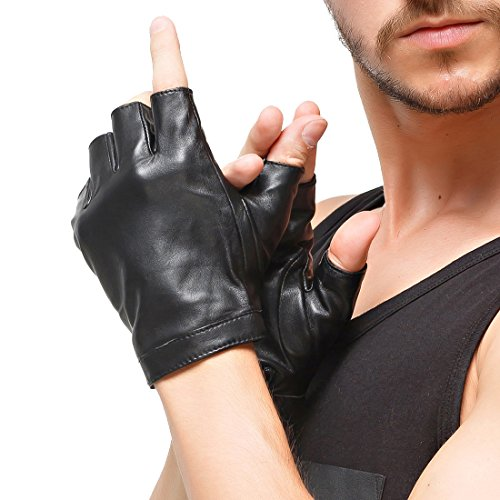 d9ecab8ea5df46 Nappaglo Herren Fingerlose Lederhandschuhe Lammfell Weiches Seidenfutter  Halbfinger für fahren Radfahren Outdoor Handschuhe (M (Umfang der ...