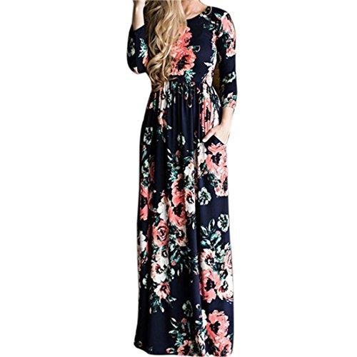 Xinan Kleider Damen Floral Print Kurzarm Lange Maxi Kleid von (XXL, Blau✿Lange Ärmel) Frauen-sommer-kleider Mit ärmel