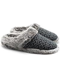 Ofoot - Zapatillas para Mujer, Muy Suaves, Antideslizantes, Color Negro, Talla 40