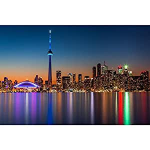 AZ Skyline At Dusk From Toronto Island Park, Canada Unframed Premium Canvas Painting 45 x 30inch
