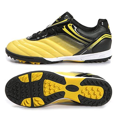 Men's Turf Soles Soccer Cleats Athletic Football Shoes Yellow Black