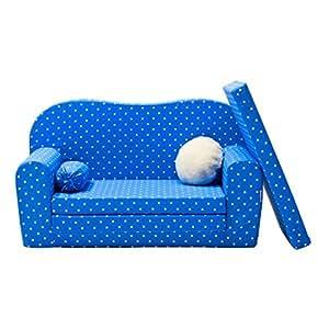Gepetto 05.07.11.03Maxi enfants Canapé ausklappbar Plus Extra Coussin–avec fonction couchage comme lit d'Invités Bleu