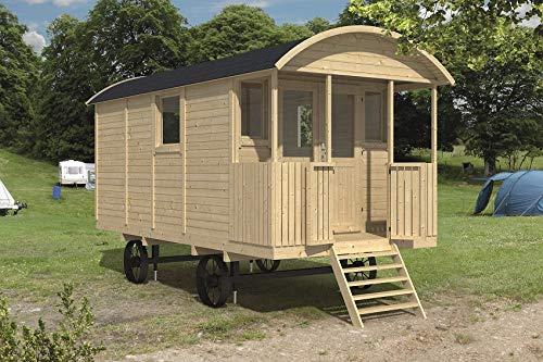 *Tuindeco Bauwagen Zirkuswagen mit Veranda aus Holz 240x500cm*