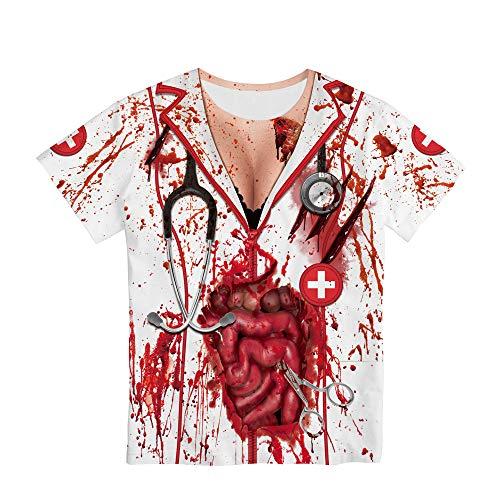 Kostüm Rob Zombies Halloween Myers Michael - ZGCP Halloween Kostüm Krankenschwester Zombie Digital Print Kurzarm WB121-007 XL