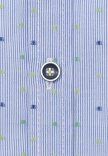 Figurbetontes Halbarmhemd Streifen Hellblau