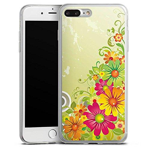 Apple iPhone 8 Plus Slim Case Silikon Hülle Schutzhülle Flowers Blumen Floral Silikon Slim Case transparent