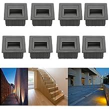 subosi fvtled LED Escaleras Luz Aluminio 230 V 2 W Cristal apliques luz escaleras con cajetín