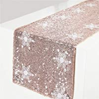 """TRLYC Christmas New Product White Snowflake Pattern Rose Gold Sequin Table Runner-12""""x120"""""""