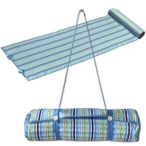 JEMIDI Strandmatte mit Kissen ca. 185cm x 63cm Schaumstoff gepolstert Badematte Isomatte Campingmatte Strand Matte Schwimmbadmatte 60cm x 180cm (Blau Streifen mit Kissen)