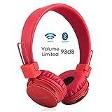 Termichy Bluetooth Stéréo Pliable On-Ear Casques, fil/filaire À double capacité Oreillettes Bluetooth support carte MicroSD/radio FM, microphone intégré pour les appels mains -libres (Rouge)