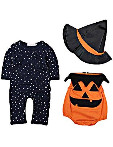 Rebavl Baby Halloween Kürbis Overall Baumwolle Unisex Langarm Body Kostüme 3-Teiliger Anzug mit Hut Größe (Schritt Kostüme 3)