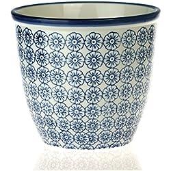 Blumentopf - gemustert Blumentopf aus Porzellan für drinnen & draußen - Blauer Blumenprint