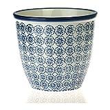 Nicola Spring Gemusterter Pflanzentopf. Porzellan Innen-/Außen Blumentopf - Design Blaue Blume x1